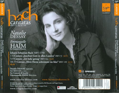 natalie dessay bach Find album reviews, stream songs, credits and award information for bach: cantatas, bwv 51, 82a, 199 - natalie dessay on allmusic - 2009 - nothing quite says bach.