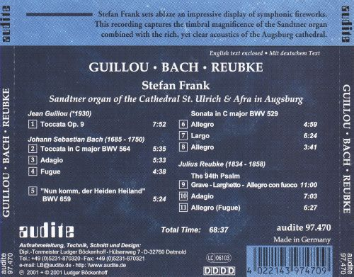 Stefan Frank plays Guillou, Reubke, Bach