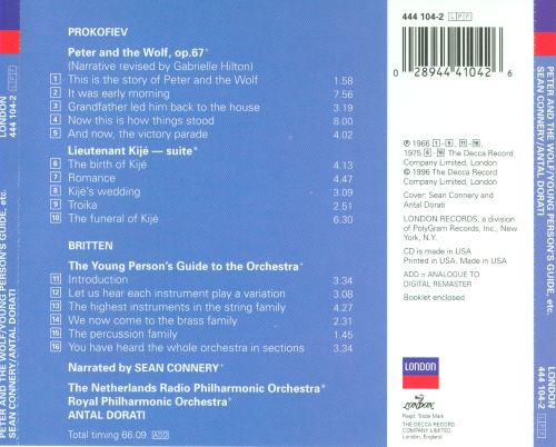 ... Prokofiev: Peter and the Wolf; Lieutenant Kijé Suite; Britten: Young Person's Guide
