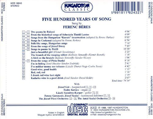 Hungarian Songs of Five Centuries