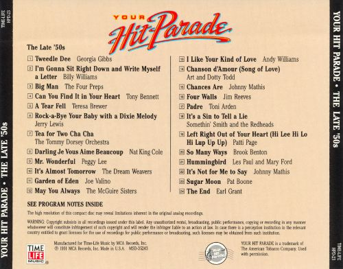 Your Hit Parade: The Late '50s