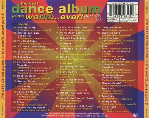 The best dance album in the world ever vol 3 for House music tracklist