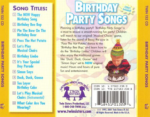 Birthday party songs twin sisters reviews
