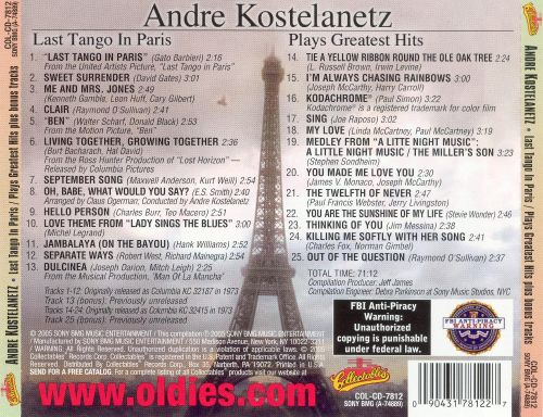 Last Tango in Paris/Plays Greatest Hits of Today