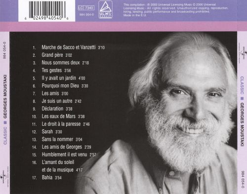 Universal masters georges moustaki songs reviews - Georges moustaki il y avait un jardin ...