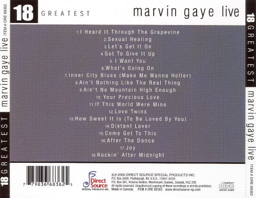 18 Greatest: Marvin Gaye Live