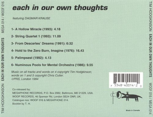 Each in Our Own Thoughts