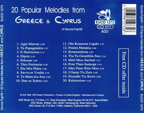 20 Popular Melodies from Greece & Cyprus
