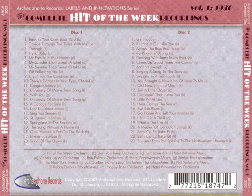 The Complete Hit of the Week Recordings, Vol. 1: 1930