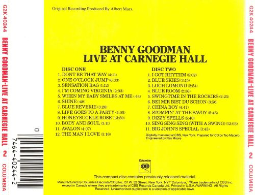 Live at Carnegie Hall (1938)