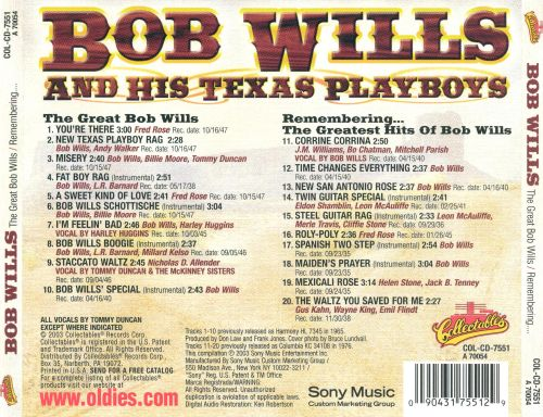 The Great Bob Wills/Remembering...The Greatest Hits of Bob Wills