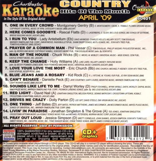 Karaoke: Country Hits of the Month - April 2009 [Chartbuster]