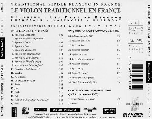 Traditional Fiddle Playing in France: Enregistrements Historiques 1939-1977