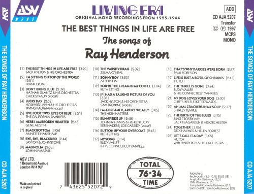 The Best Things in Life Are Free: The Songs of Ray Henderson