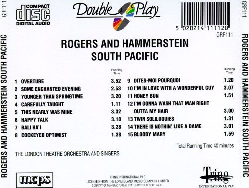 rogers and hammersteins south pacific Rodgers and hammerstein: oklahoma rodgers and hammerstein is known for his work on oklahoma (1955), south pacific (1958) and what's my line (1950.