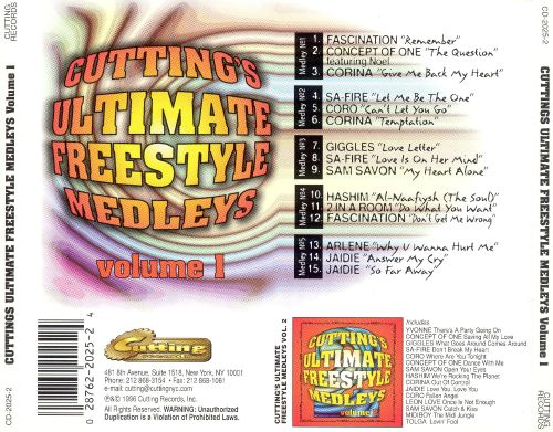 Cutting's Ultimate Freestyle Medleys, Vol. 1