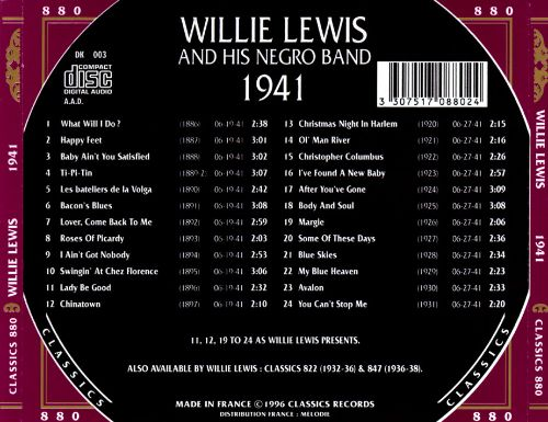 Willie Lewis & His Negro Band (1941)