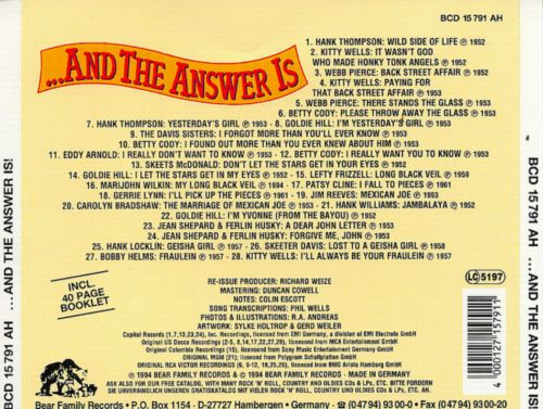 ...And the Answer Is: Great Country Answer Discs from '50s-'60s, Vol. 1