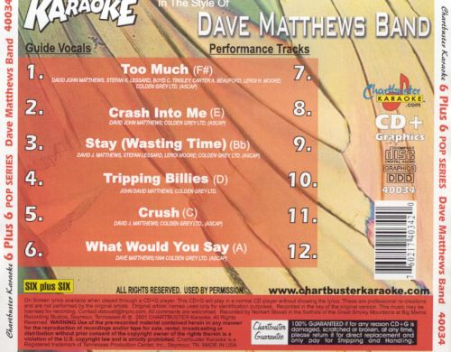 Karaoke in the Style of Dave Matthews Band, Vol. 1