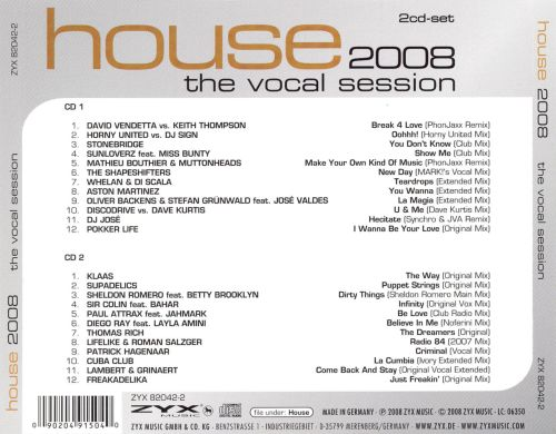 House 2008 the vocal session various artists songs for Vocal house songs
