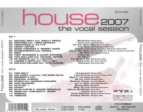 House the vocal session 2007 various artists songs for House music acapella