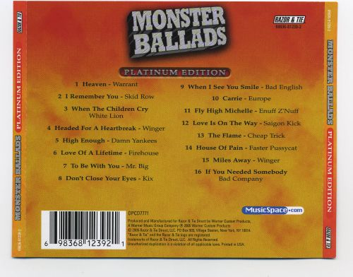 Monster Ballads: Platinum Edition Disc 1