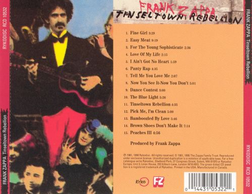 Tinseltown rebellion frank zappa songs reviews for Franks theater york pa