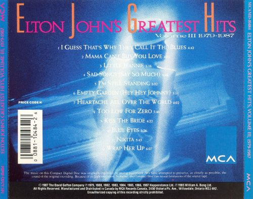 Greatest Hits, Vol. 3 (1979-1987)