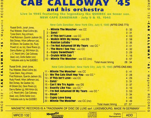 Cab Calloway '45: Live at the New Cafe Zanzibar