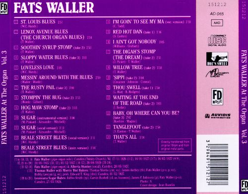 Fats Waller at the Organ, Vol. 3: 1926-1929 [Purple Cover]