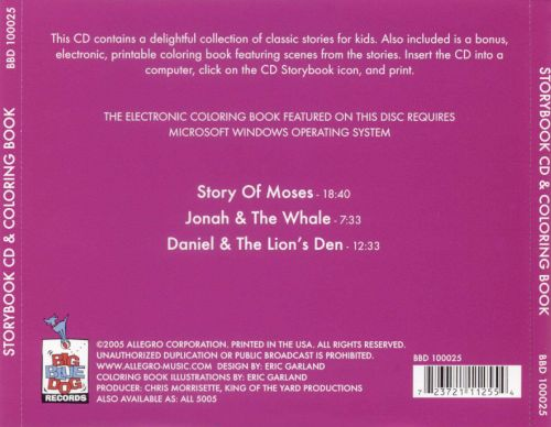 Storybook CD & Coloring Book: Story of Moses/Johnah and the Whale/Daniel and the...