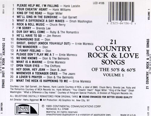 21 Country, Rock & Love Songs of the 50's & 60's, Vol. 1