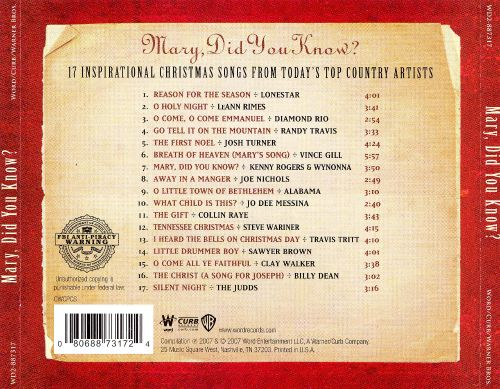 Mary, Did You Know?: 17 Inspirational Christmas Songs From Today's Top Country Artists - Various ...