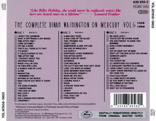 The Complete Dinah Washington on Mercury, Vol. 6 (1958-1960)