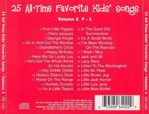 25 All Time Favorite Kids' Songs F-L, Vol. 2