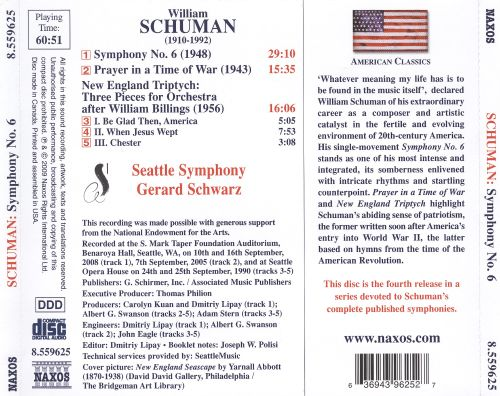 William Schuman: Symphony No. 6; Prayer in a Time of War; New England Triptych