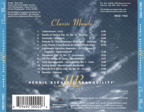 Hennie Bekker's Tranquility: Classic Moods