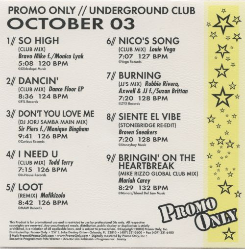 Promo Only: Underground Club (October 2003)