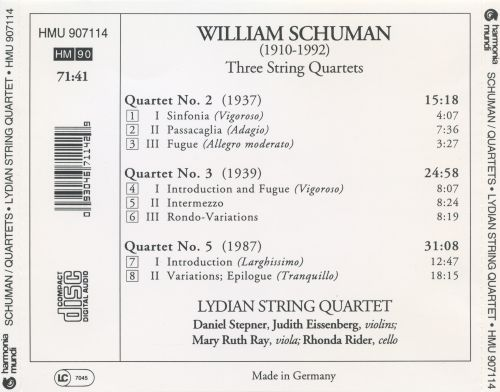 William Schuman: String Quartets Nos. 2, 3 & 5