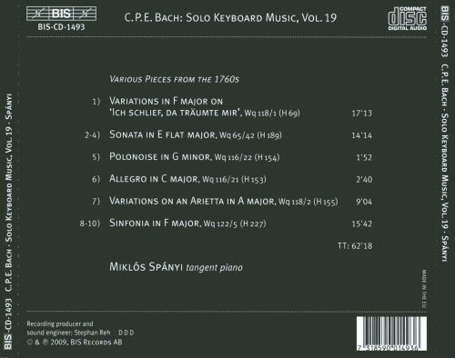 C.P.E. Bach: The Solo Keyboard Music, Vol. 19