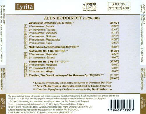 Alun Hoddinott: Variants; Night Music; Sinfoniettas 1 & 3; The Sun