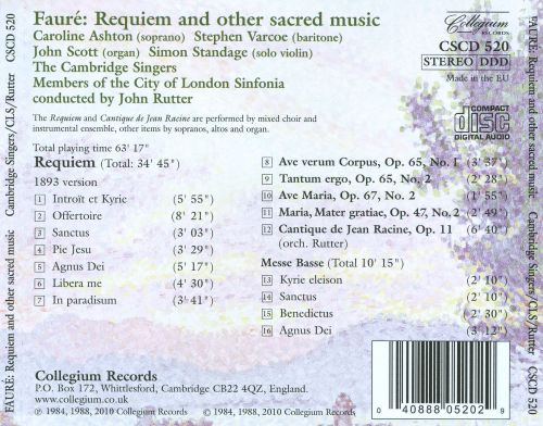 Fauré: Requiem and Other Sacred Music