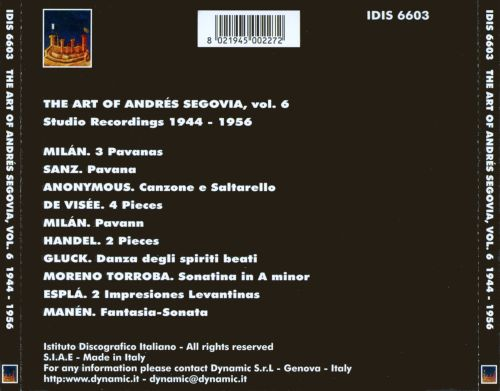 The Art of Andrés Segovia, Vol. 6