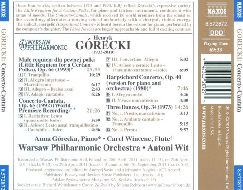 Górecki: Concerto-Cantata; Little Requiem for a Certain Polka; Three Dances