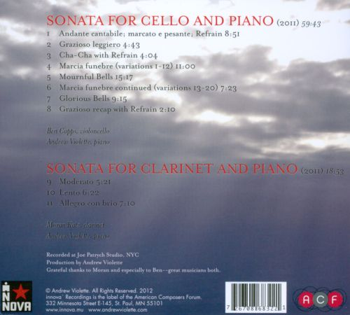 Andrew Violette: Sonatas for Cello & Clarinet
