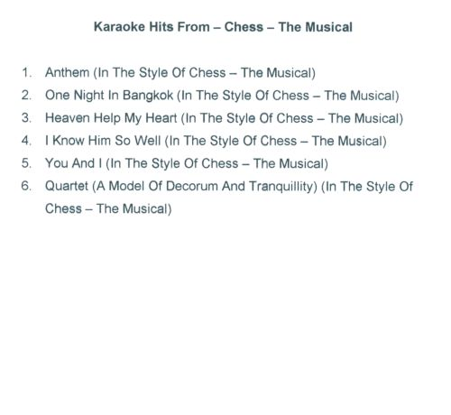 Karaoke Hits From Chess: The Musical