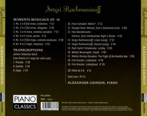Rachmaninoff: Moments Musicaux, Op. 16; Transcriptions