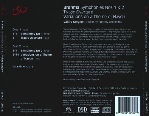 Brahms: Symphonies Nos. 1 & 2; Tragic Overture; Variations on a Theme of Haydn