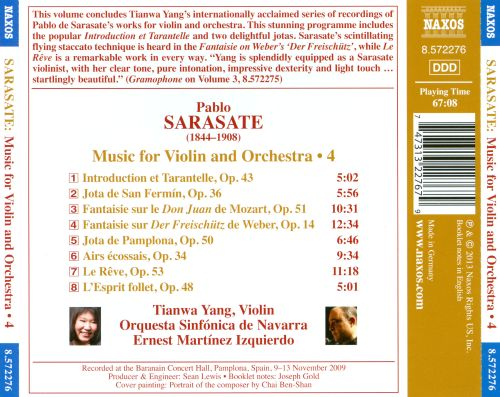 Sarasate: Music for Violin and Orchestra, Vol. 4