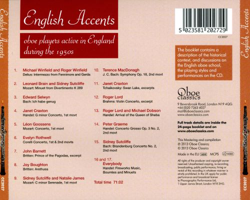 English Accents: Oboe Players in England during the 1950s